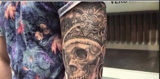 tattoo sleeves in the form of a skull with a clock