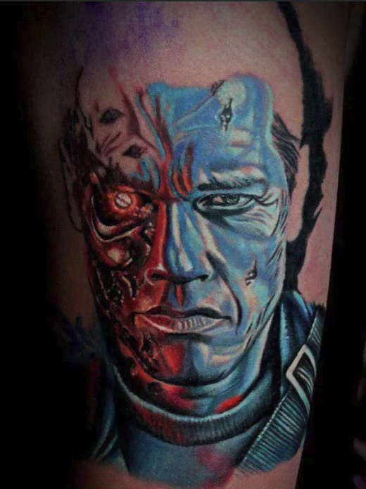 tattoo from Arnold Schwarzenegger from the film terminator