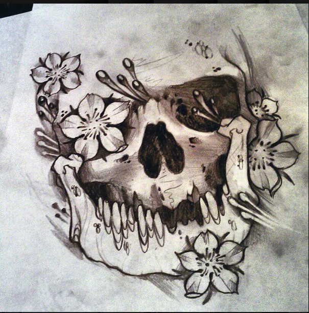 sketch of a skull with flowers