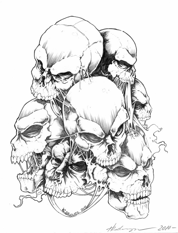 drawing of tattoos of skulls