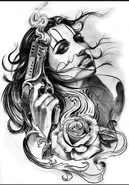 "sketch for tattoo ""girl with a gun"""