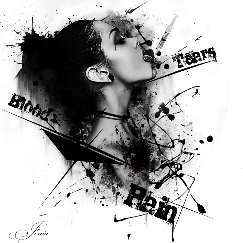 "beautiful sketch of a girl with inscriptions ""Tears, Rain, Bloods"""