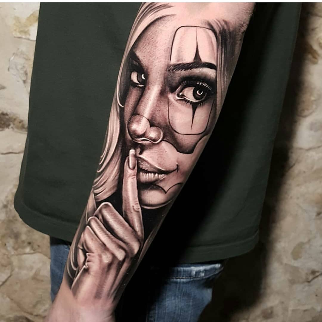 tattoo of a girl from a circus