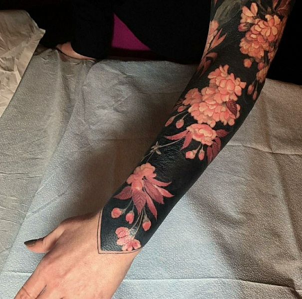 black tattoo flowers