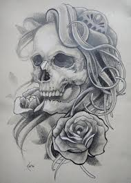 Sketch of a female skull, with hair and roses