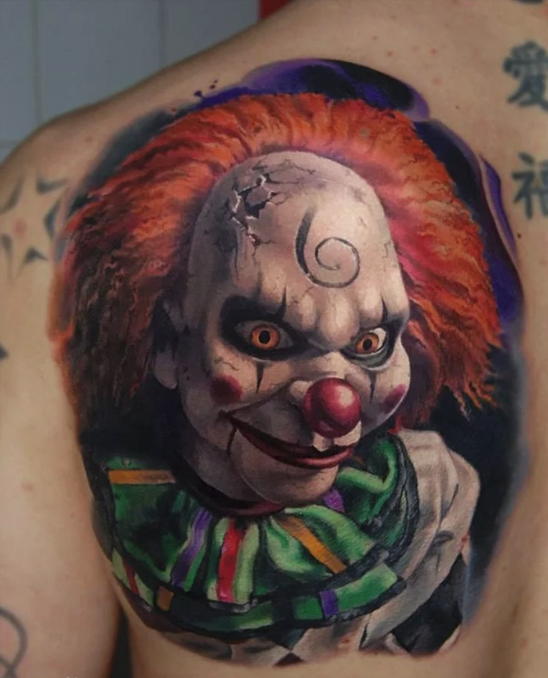tattoo of a clown from a horror movie