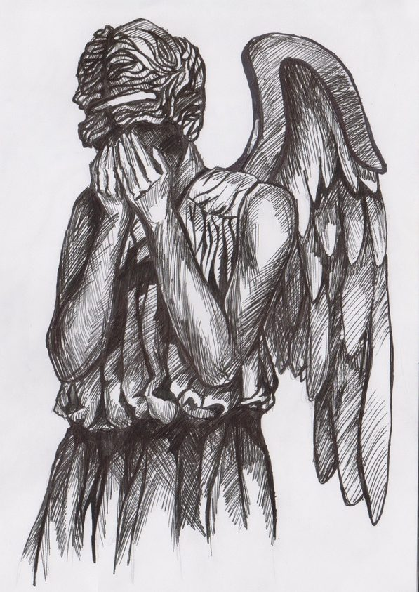 sketch of a weeping angel