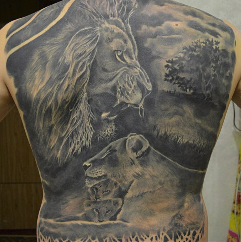 The Lion and the Lioness tattoo