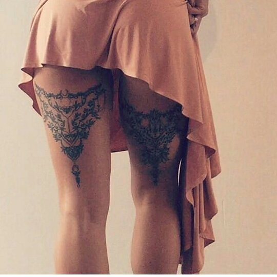 beautiful tattoos on the back of the legs