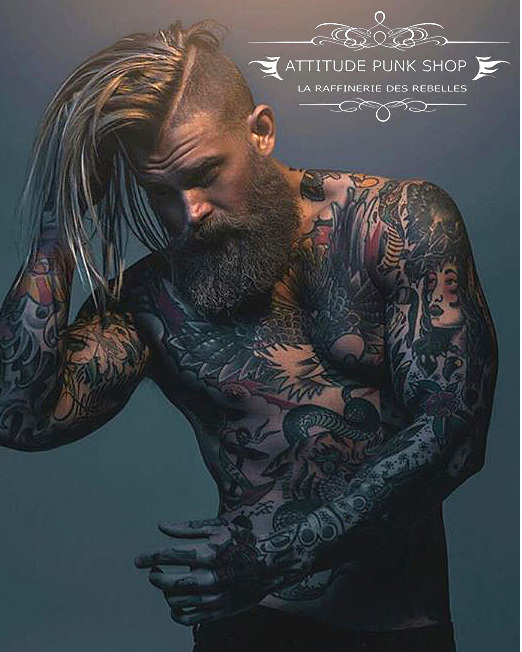 guy tattoo model, with stylish hair and tattoos