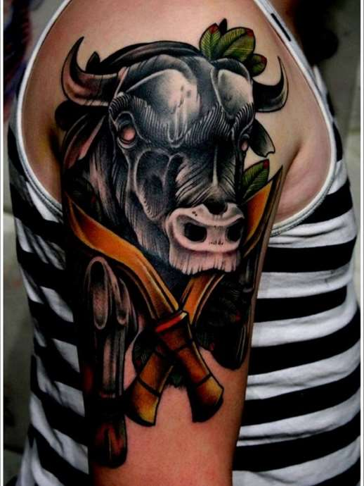 Tattoo sign of the zodiac Taurus