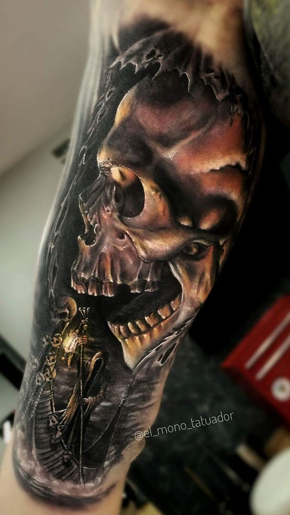 tattoo of the skull on the inside of the hand