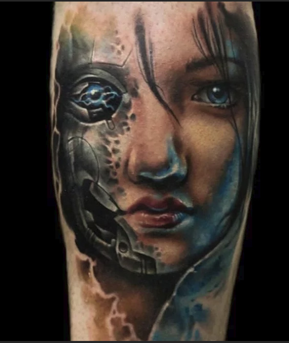 tattooed baby robot