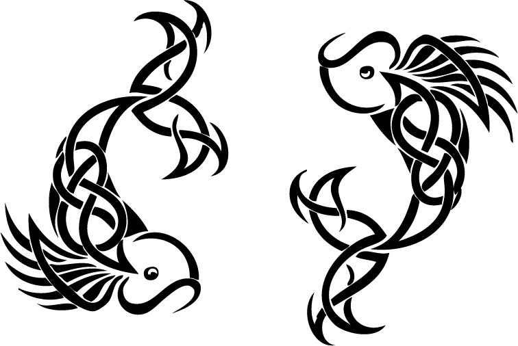 sketch for future tattoo fish in the form of patterns