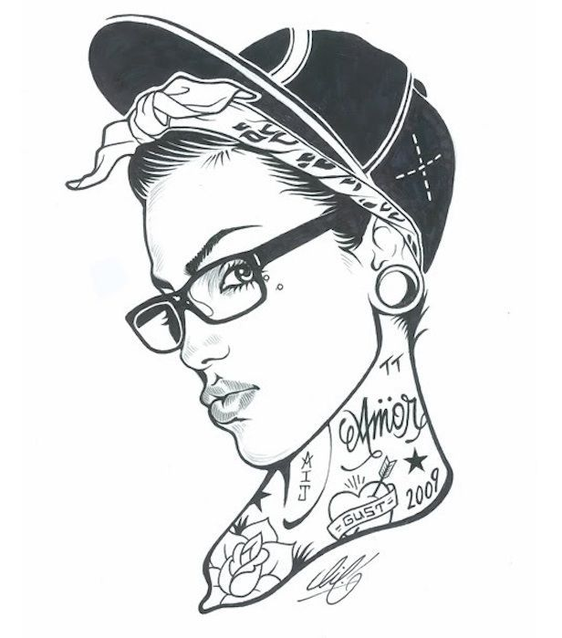 sketch of a girl in a cap with tattoos on her neck
