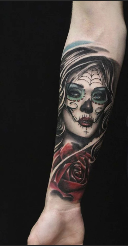 tattoo girl mythical appearance with a rose