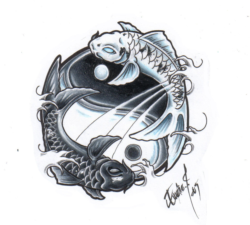 sketch for future tattoo in the form of fish and a sign of yin yang
