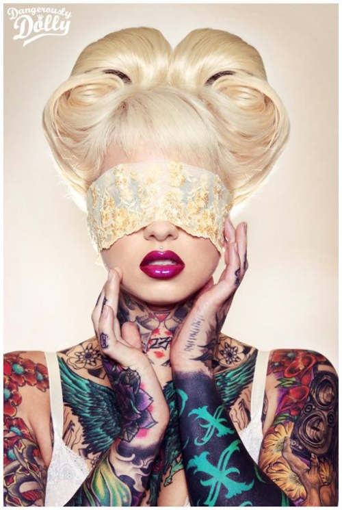 blonde model completely all in a tattoo