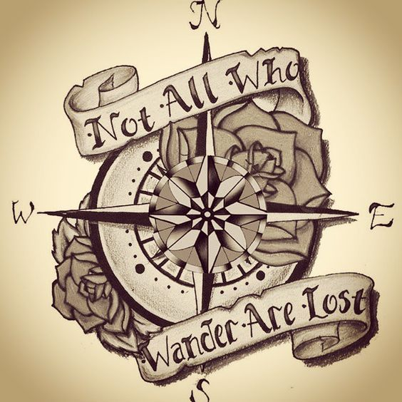 "sketch with a catch phrase ""not all who wander are lost"""