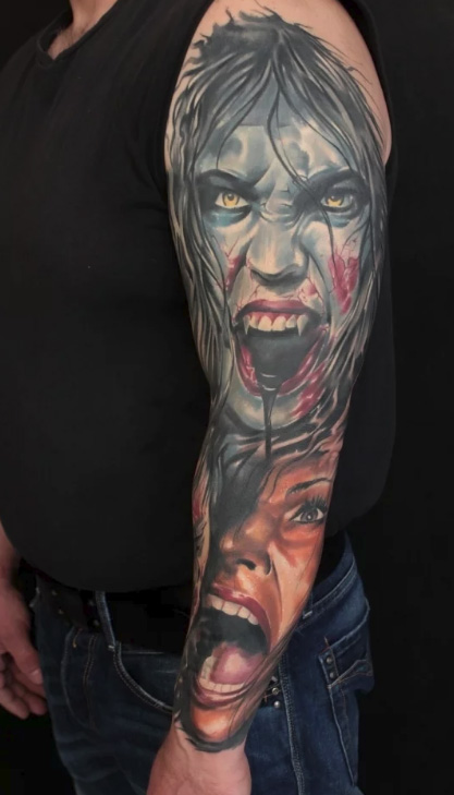 tattoo of a vampire and his victim in the form of a girl