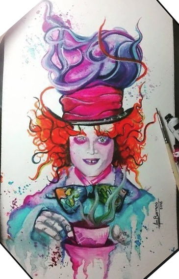 "sketch for tattoo ""hatter from Alice in Wonderland"""