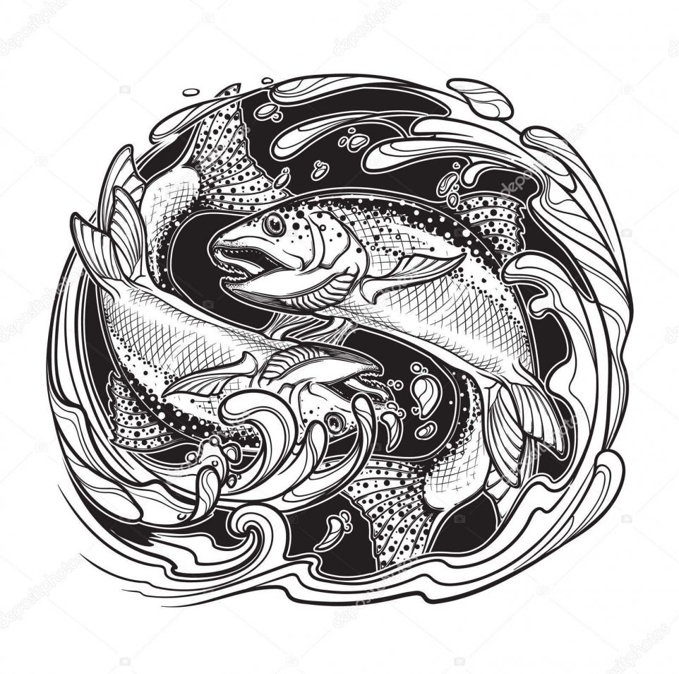 sketch for a future tattoo in the form of two trout