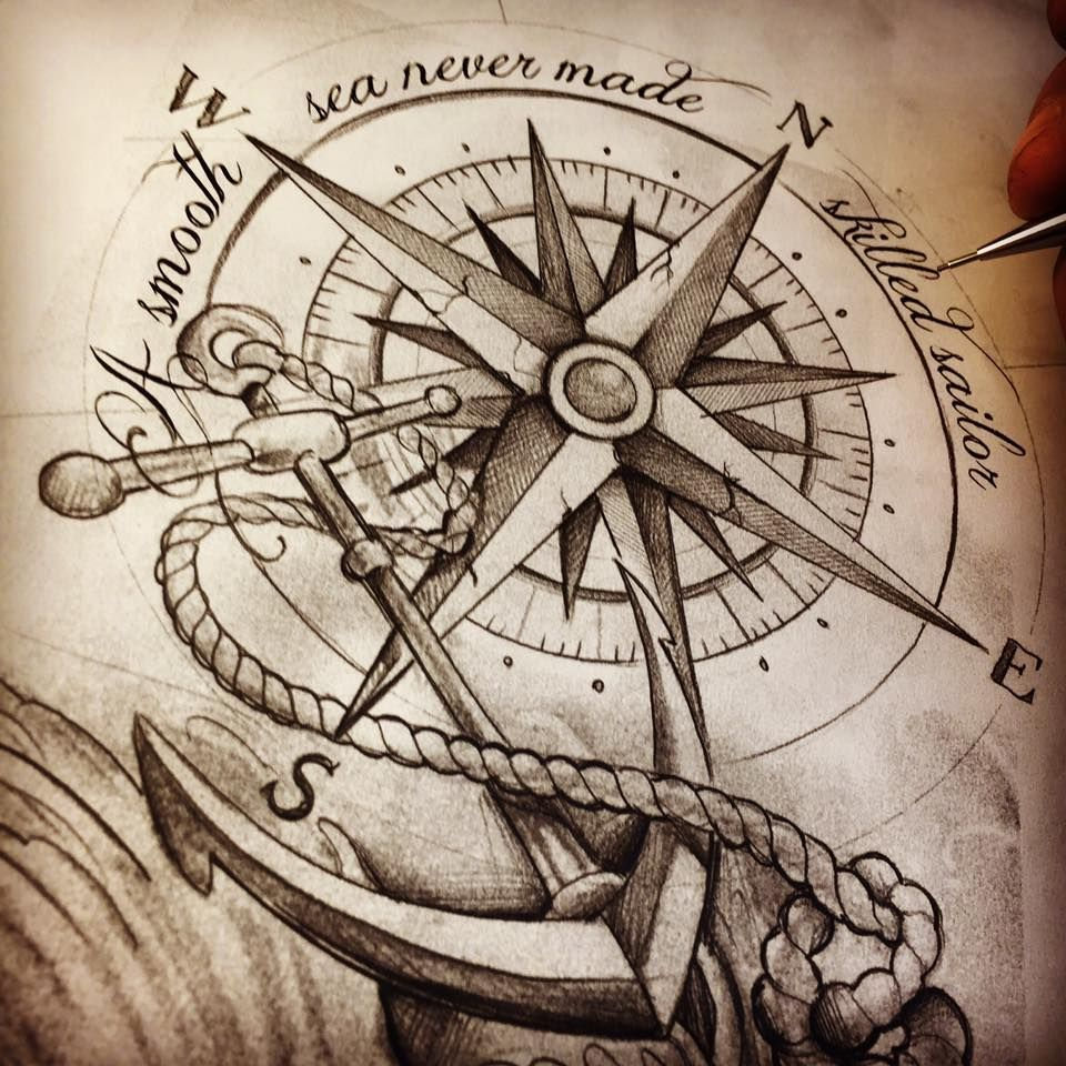 sketch of an anchor and a compass