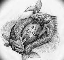 sketch for future tattoo, in the form of fish on the stone