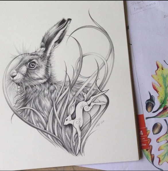 "sketch for tattoos ""hare"""