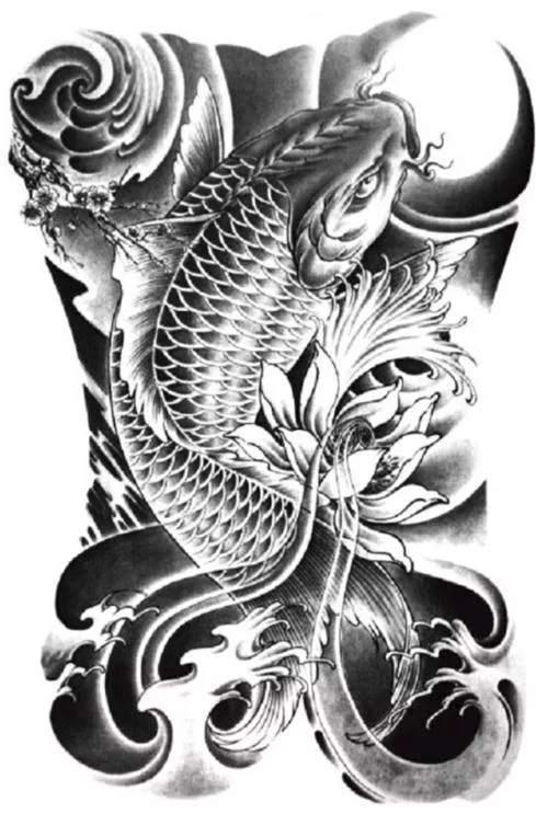 Sketch for tattoo sleeves - Japanese style with koi carp