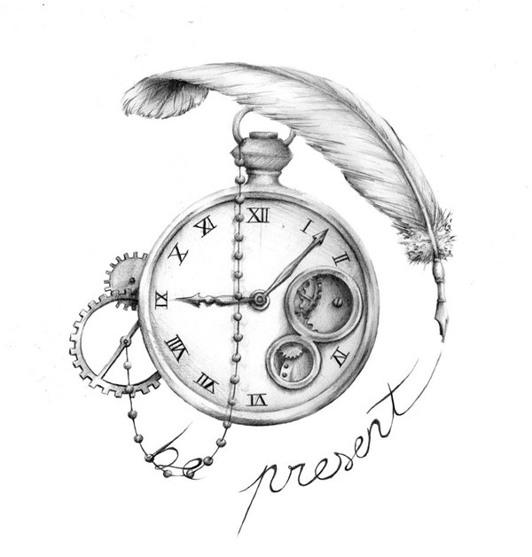 Sketch of a clock with a feather