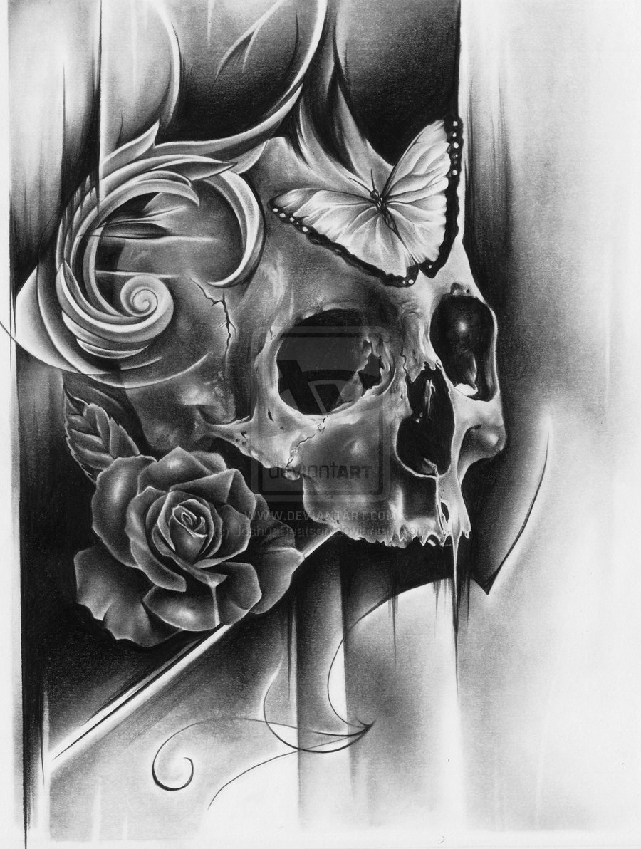 sketch for future tattoo, skull and butterfly