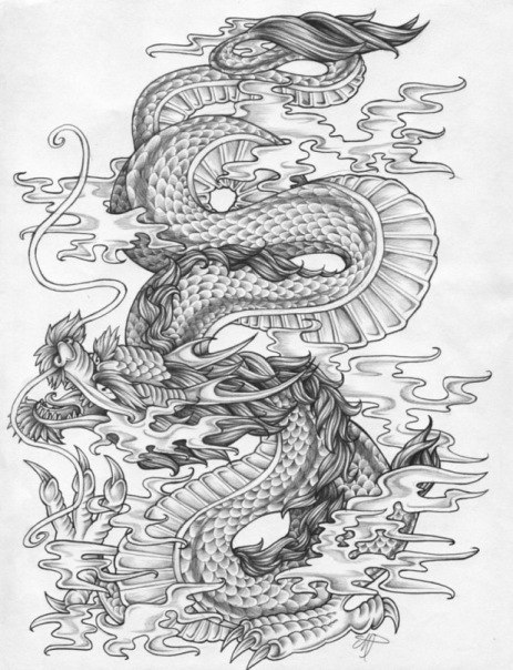 Sketch for future tattoo - dragon