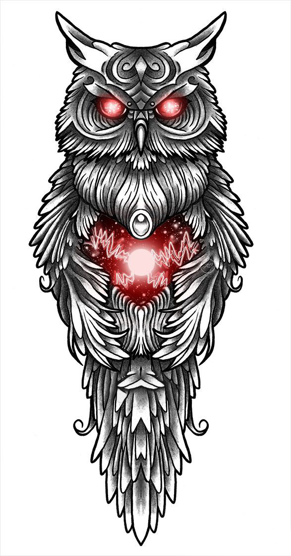 A cool sketch of an Owl for a shoulder tattoo is a great option