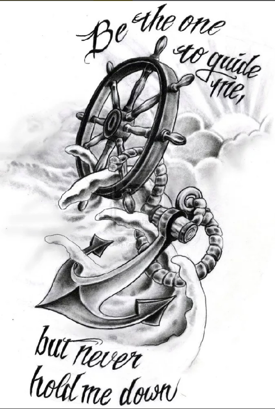 Sketch of tattoo, nautical theme