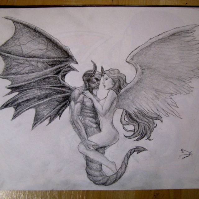 Sketch for future tattoo - angel and demon