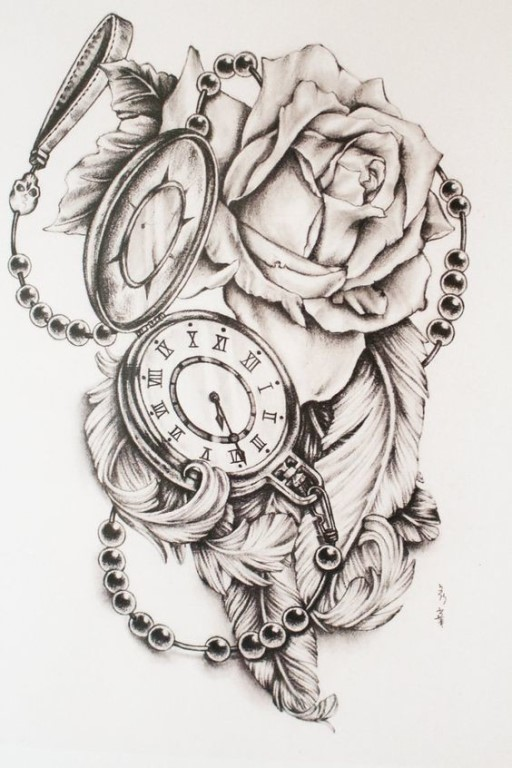 Sketch of a watch with roses