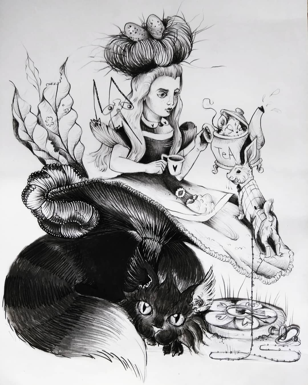 sketch of Alice in Wonderland