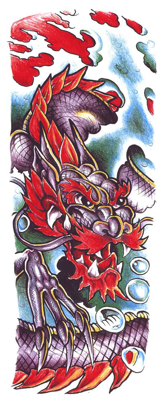 Sketch for tattoos for a sleeve in Japanese style, with a dragon
