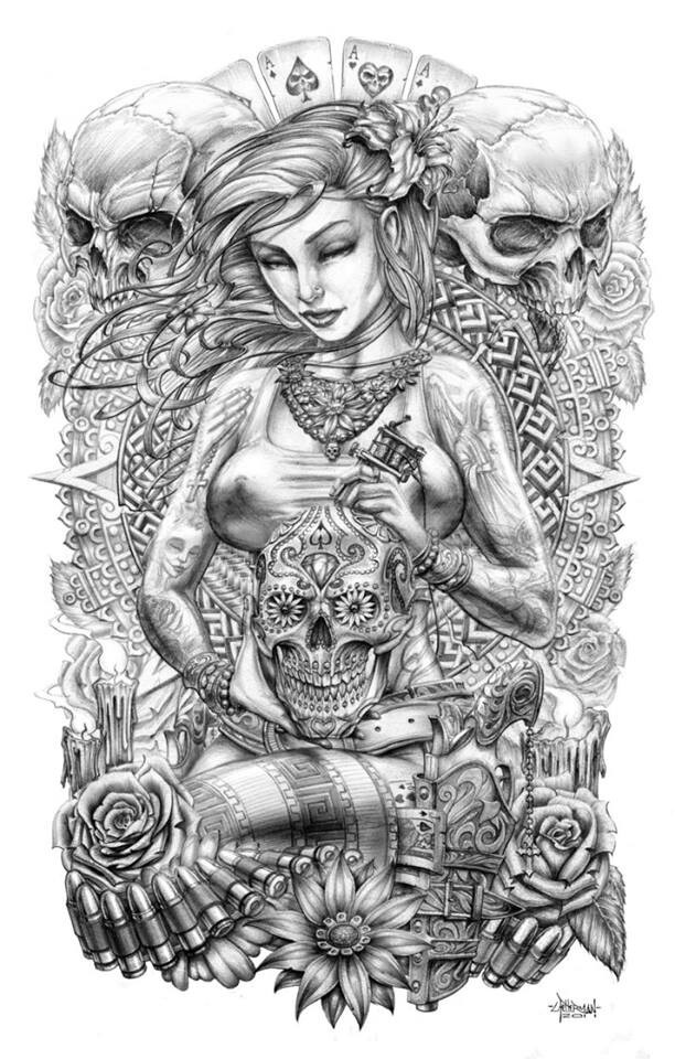 Girl with cards and skulls