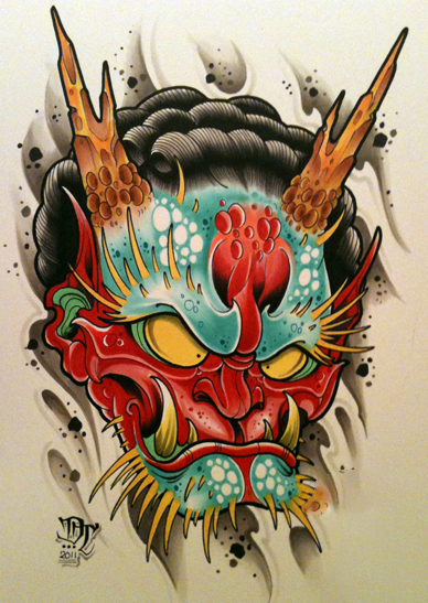 sketch for future tattoo, Japanese Daemon