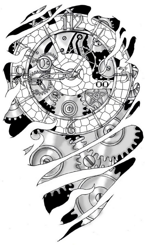 Sketch of tattoo - clockwork