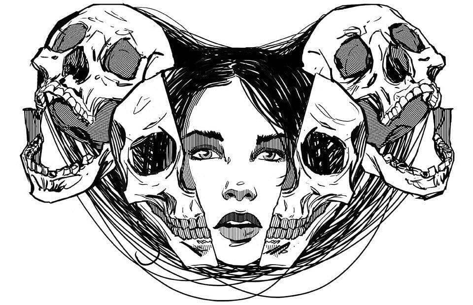 sketch of frightening tattoo with skulls