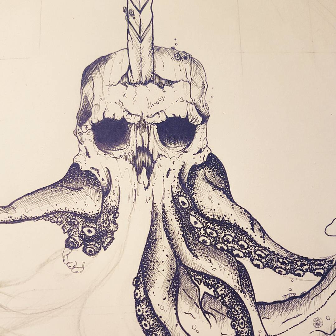Sketch of the Sea Devil, in the form of a skull and legs of an octopus