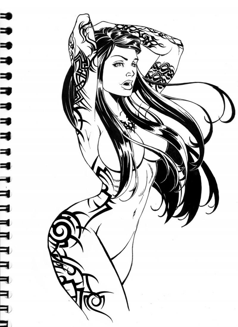 Sketch for future tattoo, girl with tattoos