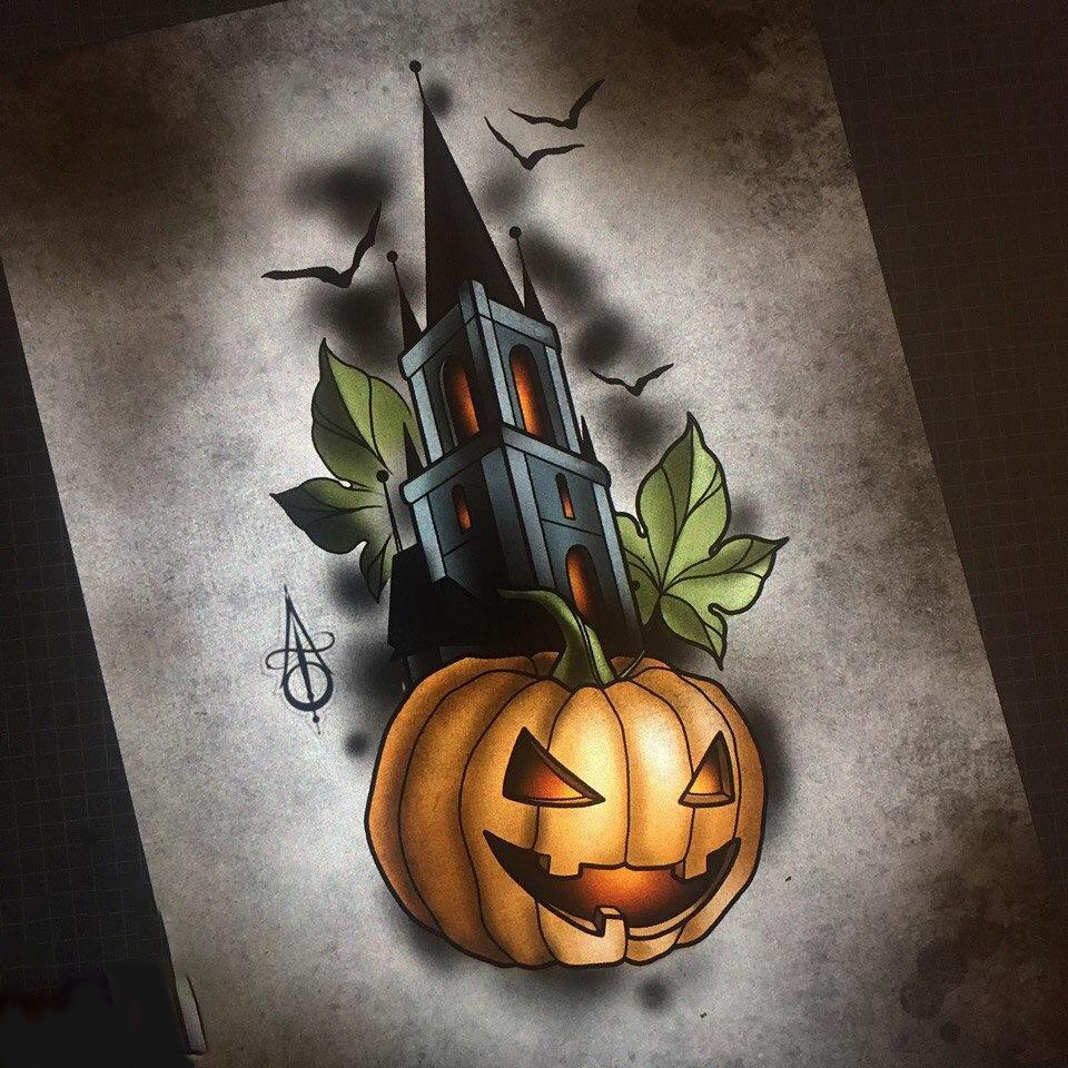 Great themed sketch for a tattoo before Halloween
