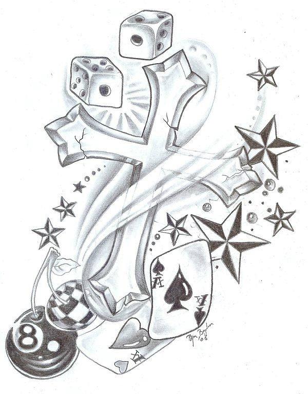 sketch for future tattoo Cross with cards and billiard ball
