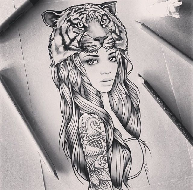 Sketch for future tattoo girl with a cap in the form of a tiger