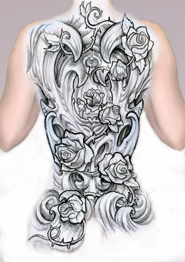 Sketch - a large tattoo on the whole back to buttocks