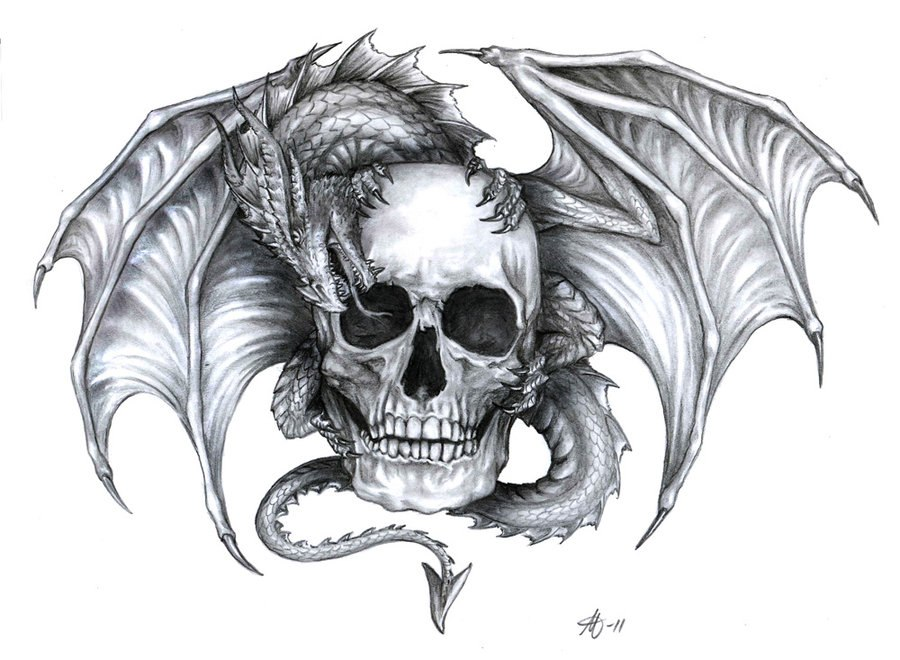 Sketch of tattoo - dragon on skull